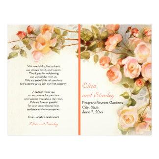 Vintage romantic painting of roses wedding program