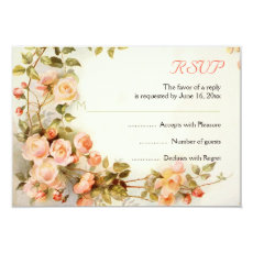 Vintage romantic painting of roses wedding RSVP 3.5