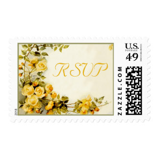 Vintage romantic painting of roses wedding RSVP Postage Stamps
