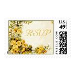 Vintage romantic painting of roses wedding RSVP Stamp
