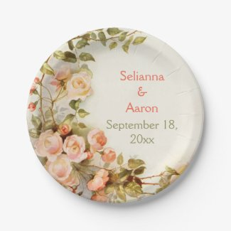 Vintage romantic painting of roses wedding 7 inch paper plate