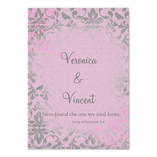 Vintage Romantic Pink and Gray Damask Wedding 5x7 Paper Invitation Card