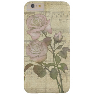 Vintage Romantic Pink Rose and Music Score Barely There iPhone 6 Plus Case