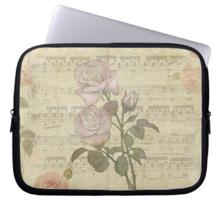 Vintage Romantic pink rose and music score Computer Sleeve