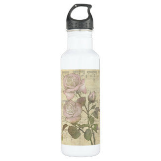 Vintage Romantic pink rose and music score 24oz Water Bottle
