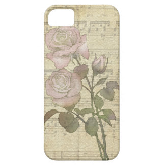Vintage Romantic Pink Roses and Music Score iPhone 5 Covers