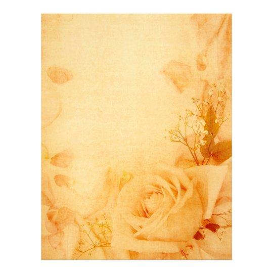 Vintage Romantic Rose Parchment Letterhead