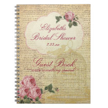 Vintage Romantic Roses Bridal Shower Guest Book |