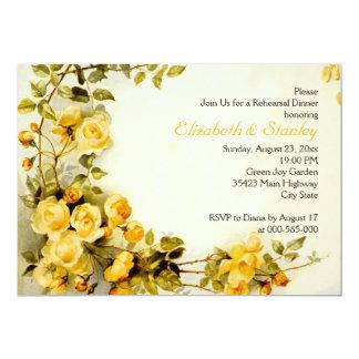Vintage romantic roses wedding rehearsal dinner card