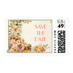 Vintage romantic roses wedding Save the Date Postage Stamp