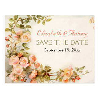 Vintage romantic roses wedding Save the Date Postcard