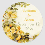 Vintage romantic roses wedding Save the Date Classic Round Sticker