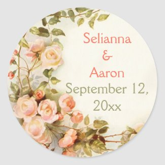 Vintage romantic roses wedding Save the Date Round Sticker