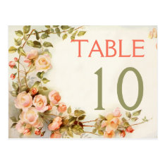 Vintage Romantic Roses Wedding Table Number Postcard at Zazzle