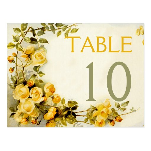 Vintage romantic roses wedding table number post card