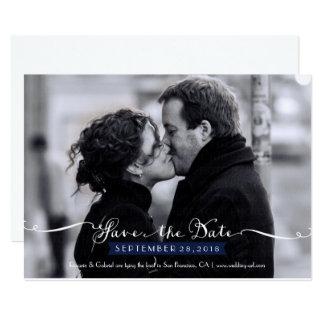 Vintage Romantic Script (Navy) Photo Save the Date Card