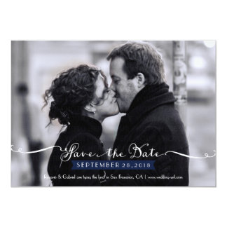 Vintage Romantic Script (Navy) Photo Save the Date Card