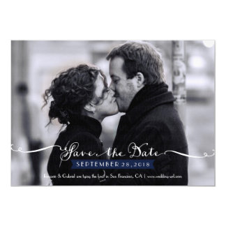 Vintage Romantic Script (Navy) Photo Save the Date 5x7 Paper Invitation Card