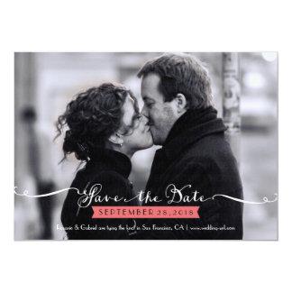 Vintage Romantic Script Photo Save the Date 5x7 Paper Invitation Card