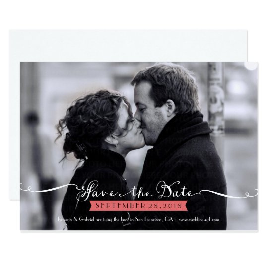 Vintage Romantic Script Photo Save the Date Card