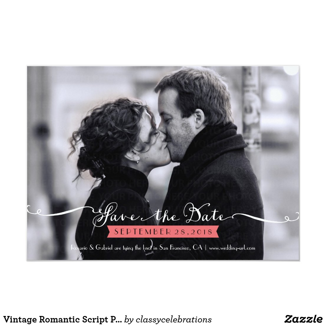 Vintage Romantic Script Photo Save the Date
