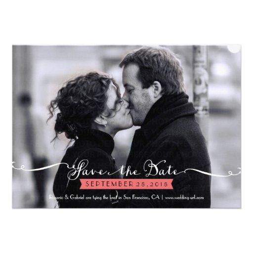 Vintage Romantic Script Photo Save the Date Custom Announcements (front side)