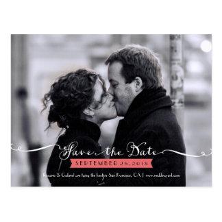 Vintage Romantic Script Photo Save the Date Postcard