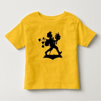Vintage romantic silhouette boy flowers hearts toddler t-shirt