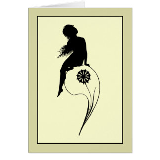 Vintage romantic silhouette girl on a culm card