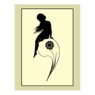 Vintage romantic silhouette girl on a culm postcard