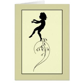 Vintage romantic silhouette girl or boy on a culm card