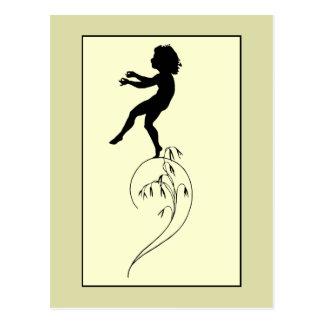 Vintage romantic silhouette girl or boy on a culm postcard