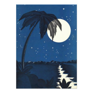 Vintage Romantic Tropical Palm In Moonlight Night Custom Announcements