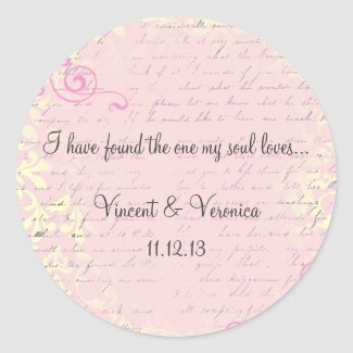 Vintage Romantic with Bible Verse Round Sticker