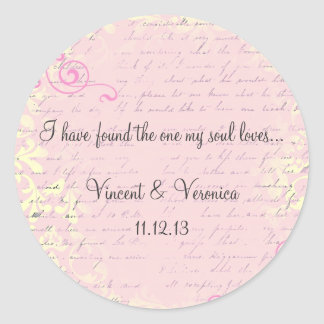 Vintage Romantic with Bible Verse Classic Round Sticker