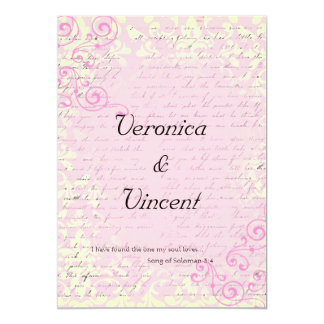 Vintage Romantic with Bible Verse Wedding 5x7 Paper Invitation Card