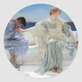 Vintage Romanticism, Ask Me No More by Alma Tadema Classic Round Sticker