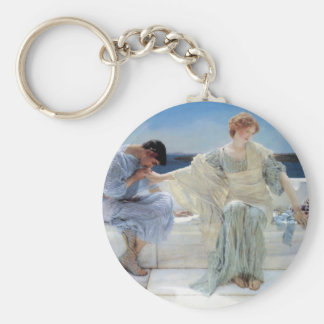 Vintage Romanticism, Ask Me No More by Alma Tadema Basic Round Button Keychain