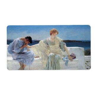 Vintage Romanticism, Ask Me No More by Alma Tadema Label