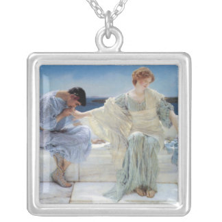 Vintage Romanticism, Ask Me No More by Alma Tadema Silver Plated Necklace