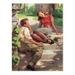 Vintage romántico, casando reserva la fecha tarjetas postales