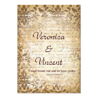 """Vintage romántico con el boda del verso de la invitación 5"""" x 7"""""""