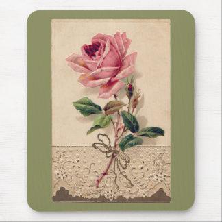 Vintage romántico floral color de rosa y del cordó alfombrilla de ratón