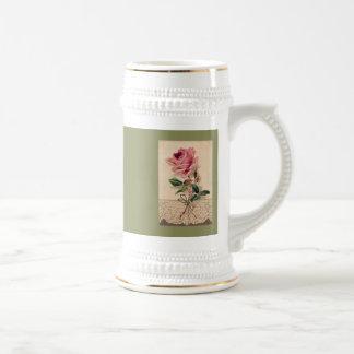 Vintage romántico floral color de rosa y del cordó tazas