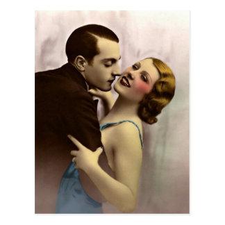 Vintage romántico francés de los pares del amor postal