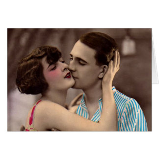 Vintage romántico francés del beso del amor de los tarjeta de felicitación