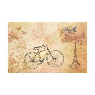 Vintage romántico París en collage de la primavera Impresión En Lienzo Estirada