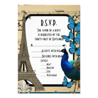 """Vintage romántico París que casa R.S.V.P Invitación 3.5"""" X 5"""""""