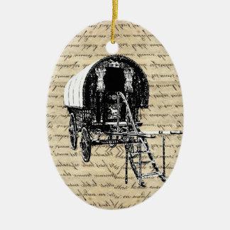 Vintage Romany Gypsy wagon Ceramic Ornament
