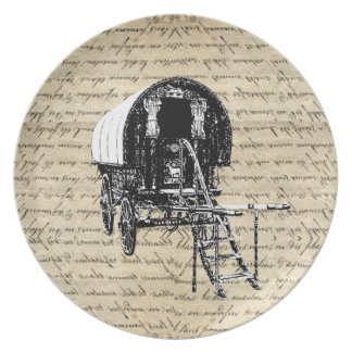 Vintage Romany Gypsy wagon Melamine Plate